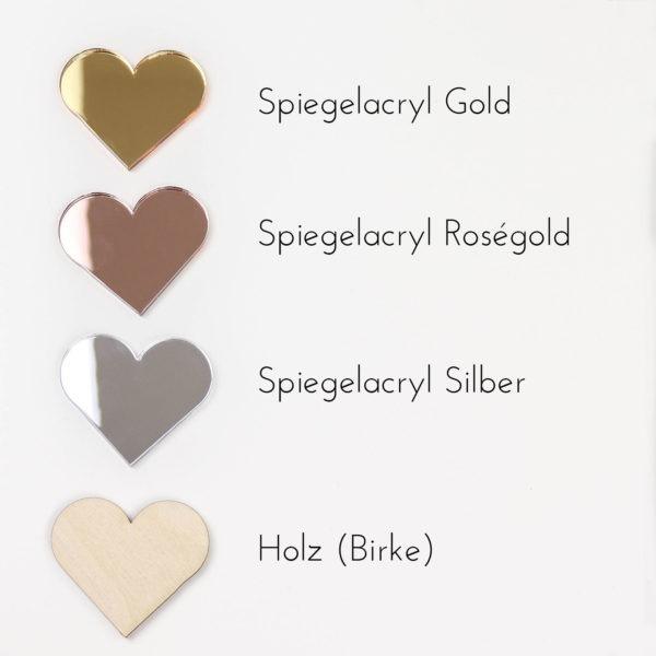 Spiegelacryl, Roségold, Rosegold; Gold; Silver; Holz