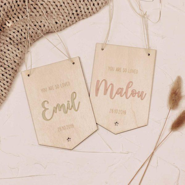 Frau Kopfkino; Geburt; Kinderzimmer; Kinderzimmerdekoration; Namensschild; Geschenk; Geschenkidee; Geschenke zur Geburt; Holzdekoration; Lasercut