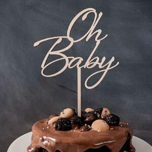 Caketopper; Frau Kopfkino; Tortenstecker; Hochzeitstorte; Cake topper; Topper; Torte; Tortendekoration; Gold; Rosegold; Roségold,Acryl, Babyparty; Geburtstag; Schwangerschaft; Baby; Taufe; Torte Babyparty; Cake Topper Babyparty; Cake Topper oh baby