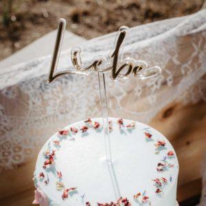 Caketopper; Frau Kopfkino; Tortenstecker; Love; Hochzeitsdekoration; Hochzeitstorte; Verlobung; Hochzeit; Liebe; Engagement; Cake topper; Topper; Torte; Tortendekoration; Gold; Rosegold; Roségold, Boho; Bohowedding, Acryl, transparent; Liebe