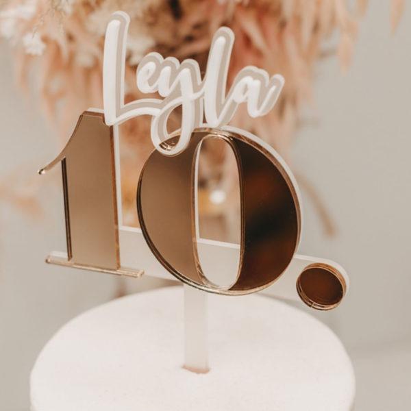 Caketopper; Frau Kopfkino; Tortenstecker; Cake topper; Topper; Torte; Tortendekoration; Gold, Acryl, transparent; Geburtstag; Feier; Geburtstagsfeier; Geburtstagsdekoration; Dekoration; Party; Partydekoration; feiner; Birthday; Gold; personalisiert; individualisiert